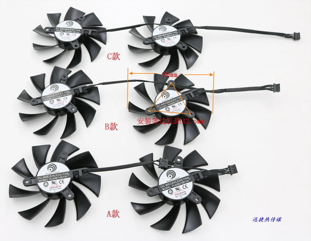 New Original for EVGA GTX760 / 770/780 / 780Ti / TiTAN / TiTANX ACX COOLING graphics card fan Power Logic PLA09215B12H 12V 0.55A free shipping power logic pld10010s12m 12v 0 20a 95mm for gigybyte gvn550wf2 n56goc r667d3 r777oc graphics card cooling fan 2pin