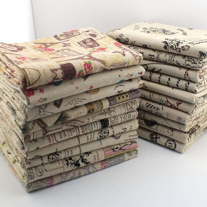Tecido patchwork para costura de vestuário de linho de serapilheira do vintage & almofadas decorativas materiais de impressão de tecido toalhas de pano têxtil