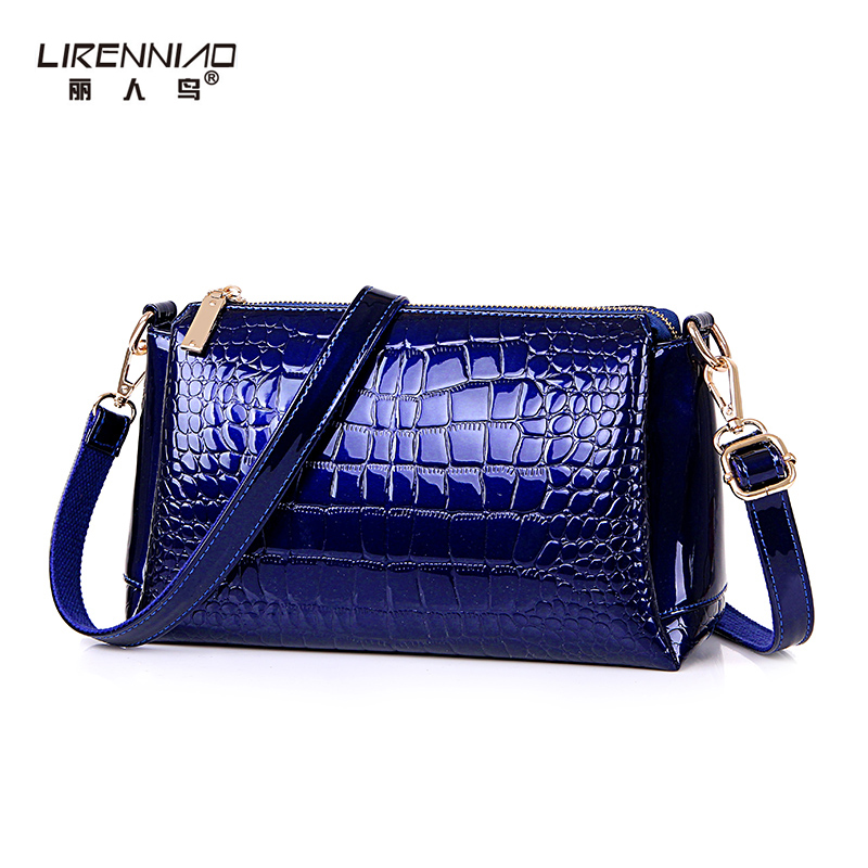 LIRENNIAO Brand Handbag Women Shoulder Messenger Bags Balck Leather Small Cross body Bag High Quality Alligator Sac A Main 2017