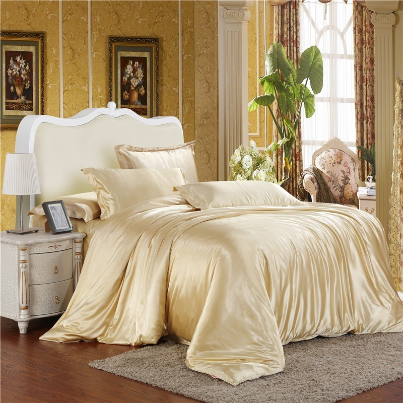 Jeefttby Satin Bedding Pillowcase Duvet-Cover Bed-Sheet Double Silk 3pcs Soft Solid Simulation-Silk