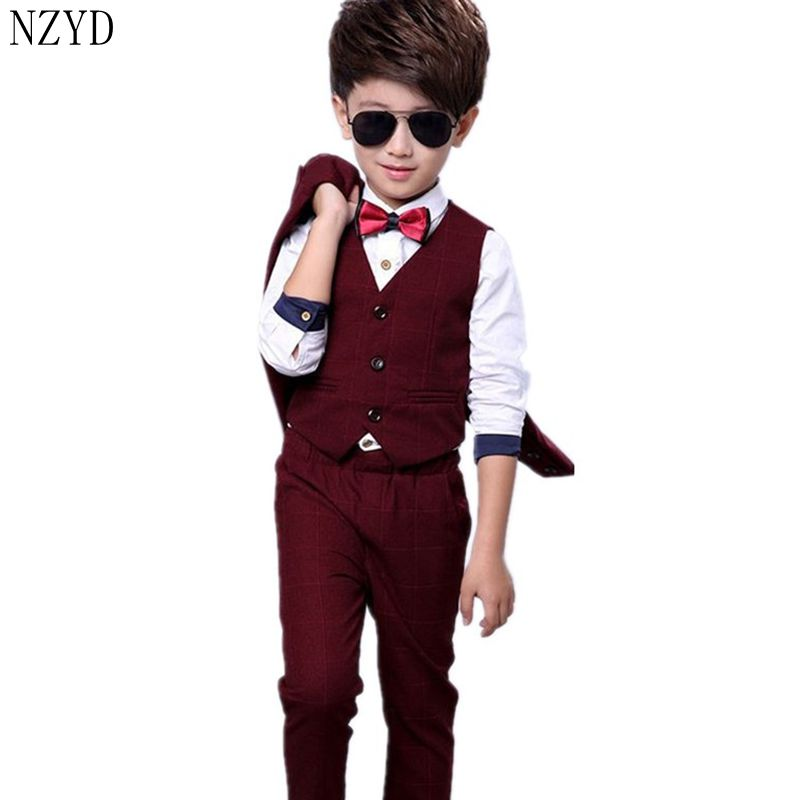 2017 New Fashion Autumn Winter Boy Four-Piece Suit Thicken Children Vest+Shirt+Coat+Pants Suit Handsome Kids Clothes DC034 2016 new fashion autumn winter boy two pieces suit thicken children tops pants suit leisure hooded kids clothes hl0856