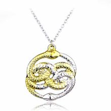The Neverending Story Movie Necklace H P Double Snakes Gold Silver Loki Film Pendant Necklaces Men Gift(China)