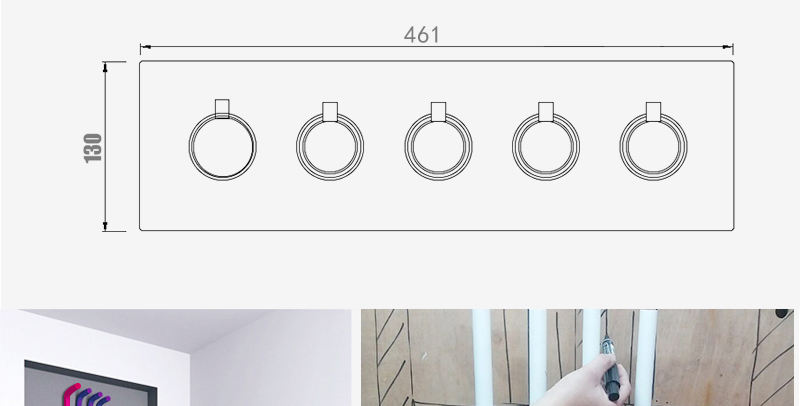 hm A High Quality 100% Brass Finish Chrome Thermostatic Shower Mixer Faucet, Shower Faucet, Hidden Water Round 5 Dial 4 Ways (27)