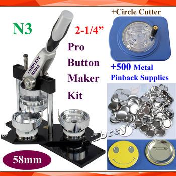 Pro N3 darmowa wysyłka 2-1 4 #8222 58mm maszyna do buttonów z guzikiem + poprawiono 8 rozmiar koło Cutter + 500 zestawy metalowe Pinback przycisk dostaw tanie i dobre opinie 2-1 4 58mm