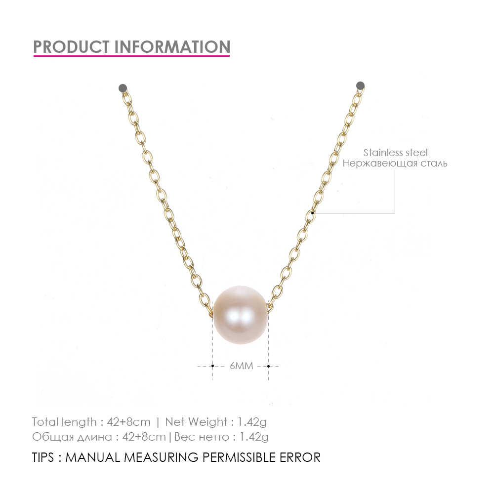 Классическое ожерелье из нержавеющей стали, простой кулон с искусственным жемчугом, ожерелье-чокер для женщин, ожерелье-цепочка, ювелирные изделия в стиле минимализма