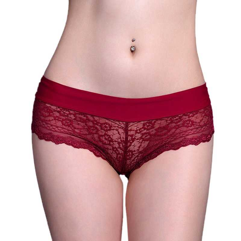 2019 Sexy Lace Transparent Thong Panties Low Waist Cotton Briefs Underwear Women Breathable G-String