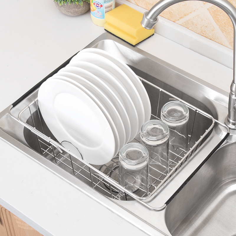 Stainless Steel Adjustable Drain Basket Telescopic Vegetable Washing Basin Dish Storage Washing Basket Kitchen Sink Drain Rack