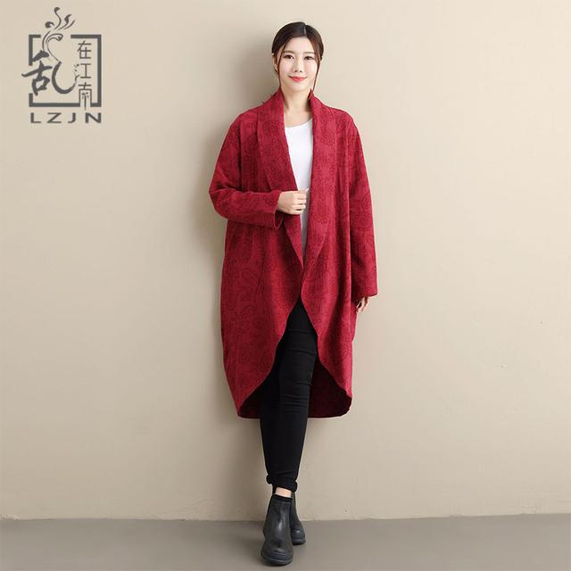 LZJN Vintage Windbreaker Women 2018 Autumn Long Duster Coat Jacquard Cotton Linen Chinese Cardigan Ladies Jacket Trenchcoat