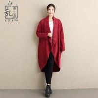 LZJN Vintage Windbreaker Women 2019 Autumn Long Duster Coat Jacquard Cotton Linen Chinese Cardigan Ladies Jacket Trenchcoat
