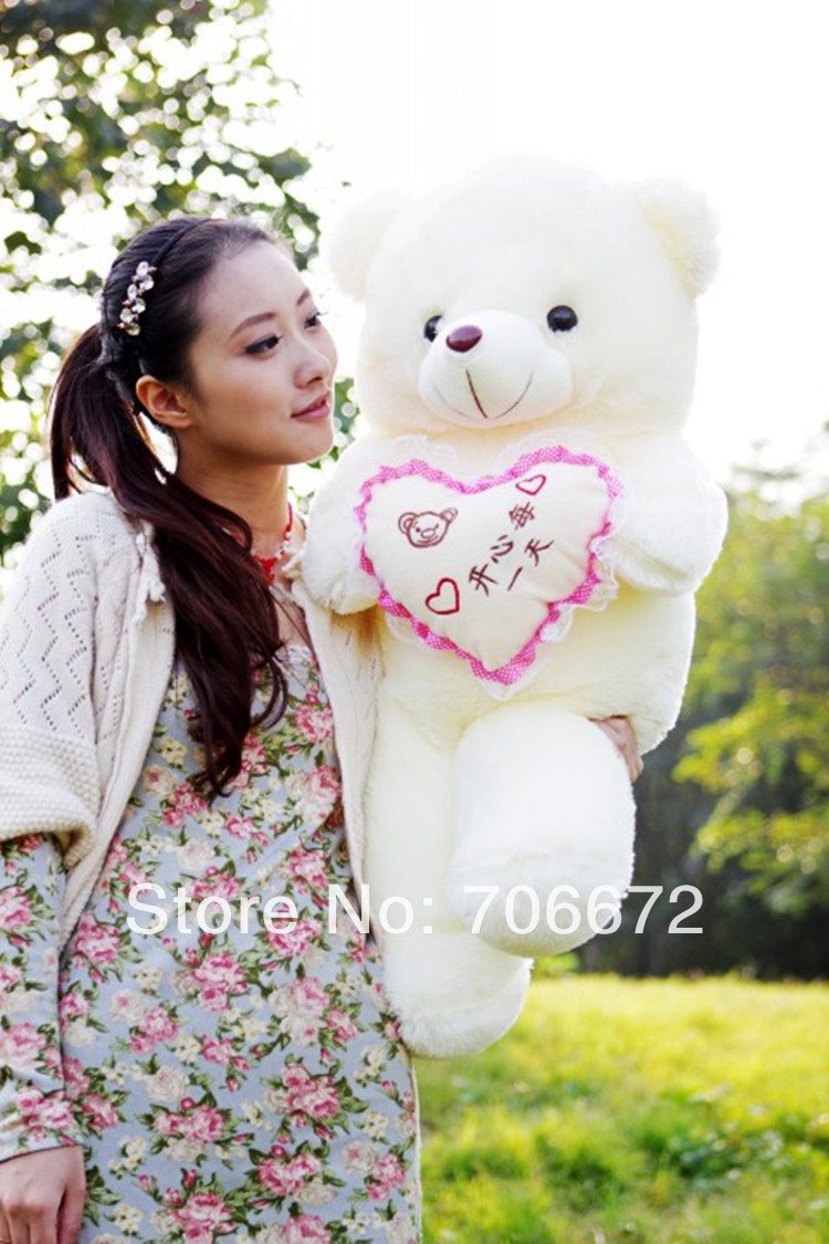 New stuffed bear chinese words means  happiness every day  teddy bear Plush 80 cm Doll 31 inch Toy gift wb8117