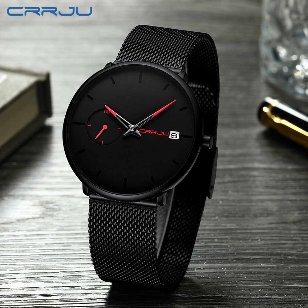 Image 4 - Crrju Sports Date Mens Watches Top Brand Luxury Waterproof Sport Watch Men Ultra Thin Dial Quartz Watch Casual Relogio Masculino-in Quartz Watches from Watches