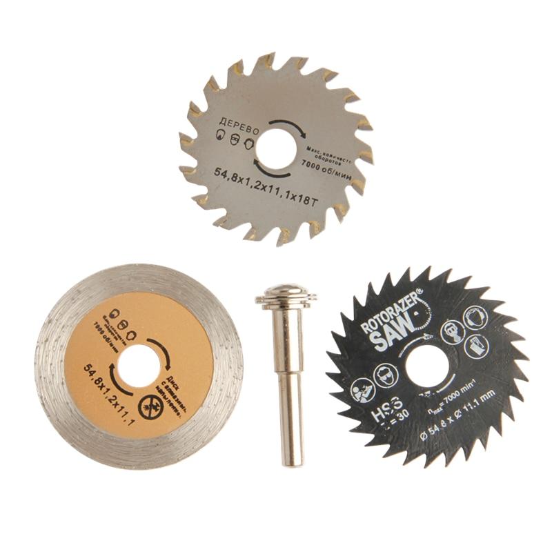 4pcs Hojas de sierra HSS Rotary Tool Hojas de sierra circular Discos de corte de rueda de corte de diamante Mandril para herramienta eléctrica Dremel