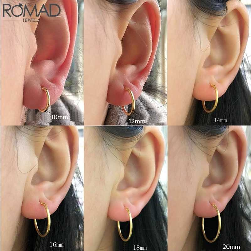ROMAD 925 Sterling Silver Earrings For Women/Men Small Hoop Earrings Ear Bone aros Tiny Ear Nose Ring Girl aretes ear hoops R5