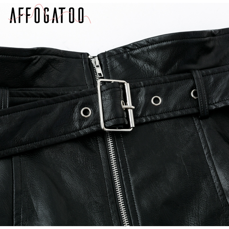 Affogatoo High waist pu leather skirts women Sash zipper pencil mini skirt 18 Autumn streetwear winter black skirts short 17