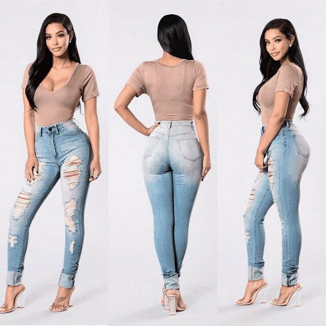 887f7b7ac9d2f6 Women Sexy Ripped Denim Jeans Skinny Hole Pants Stretch Daily Shredded jeans  Slim ladies High Waist Pencil Trousers light F80