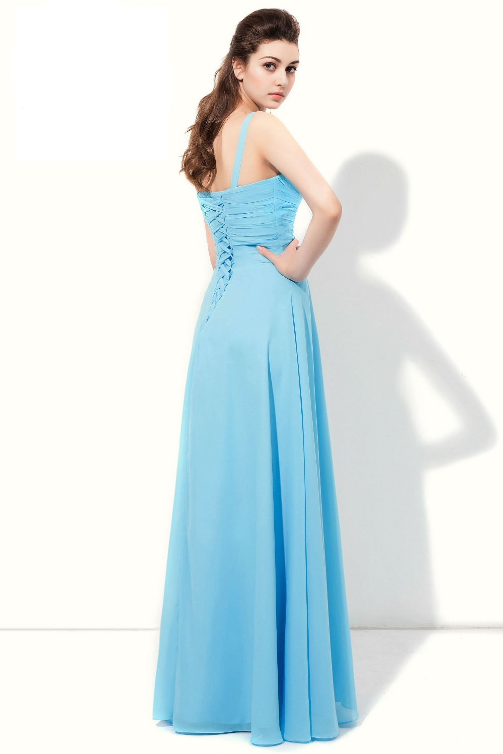 Walk Beside You Sky Blue Bridesmaid Dresses Spaghetti Straps Chiffon ...