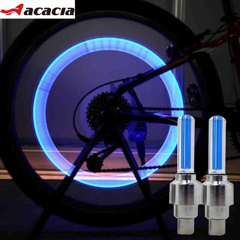 ACACIA 2 Pcs/Lot Cycling LED Light Mountain Road Bike Bicycle Wheel Tyre Valve Caps Light Wheel Spoke Neon LED Bike Warn Lights
