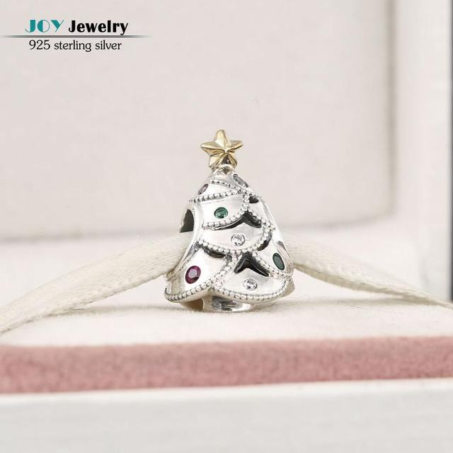 2016 Winter New 925 Sterling Silver Colorful Stone Festive Christmas Tree Charms Gold Plated Star Beads For Jewelry Making