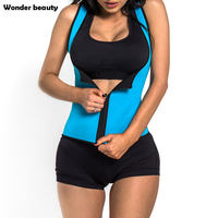 Wonder Beauty Neoprene Slimming Waist Sweat Belt Zipper Front Sauner Waist Trainer Blue Black Pink Women