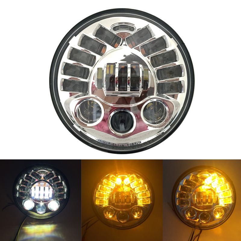 Head Light For Nissan Patrol Y60 7 Round LED Headlight For Jeep Wrangler TJ JK LJ
