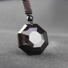 KYSZDL Natural obsidian pendant male and female auspicious black crystal pendant jewelry free gift rope obsidian and stars