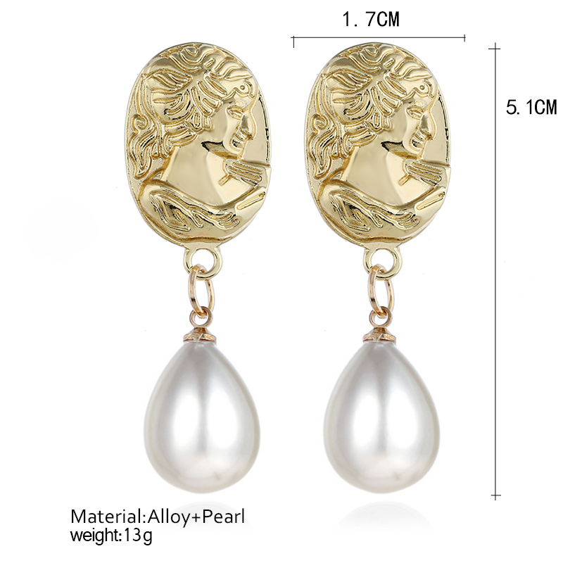Bohopan New Arrival Elegant Dangle Earrings Fashion Abstract Face Pearl Earrings Party Water Drop Pendant Earrings For Women in Drop Earrings from Jewelry Accessories