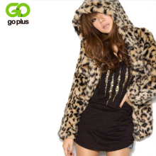 GOPLUS 2017 Lady Faux Fur Coat Winter Leopard Jacket Hooded Outerwear Women Warm Fake Casaco De Pele Falso