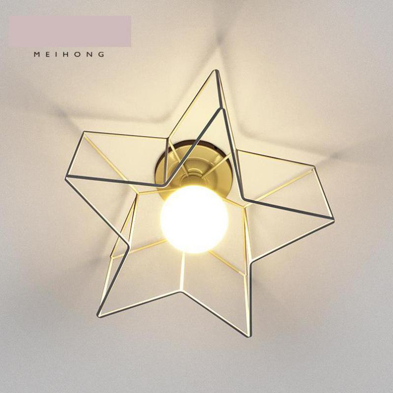 Children Room Iron Pentagram ceiling Lamp Lamparas De Techo kitchen dining Modern Nordic Bedroom Ceiling E27 Led porch Lighting vemma acrylic minimalist modern led ceiling lamps kitchen bathroom bedroom balcony corridor lamp lighting study