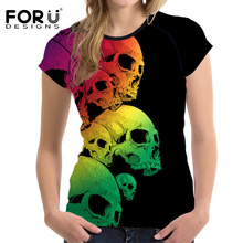 FORUDESIGNS Colorful Skull Prints T Shirt Women Casaul T-shirt Crop Top Short Sleeved Woman Summer Basic Tees Top Female Clothes