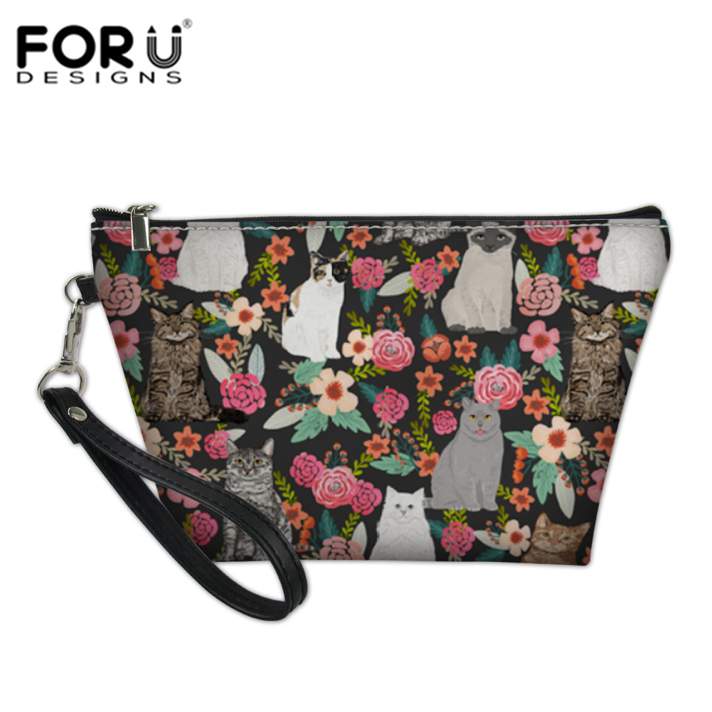 FORUDESIGNS Flowers Garden Cat Cosmetic Bags & Cases Women Makeup Functional Bag Travel Organize Make Up Pouch Toiletry Bag Kits