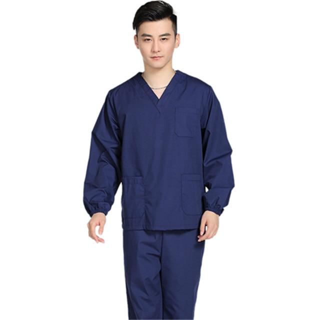2abb2055481 New Men Medical Scrub Sets Hospital Doctor Uniforms Dental Clinic Beauty  Salon Long Sleeve Medical Workwear
