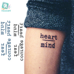 Rocooart HC1113 водостойкие временные тату наклейки смелость боязнь сердце ум буквы дизайн переводная вода Харадзюку поддельные татуировки
