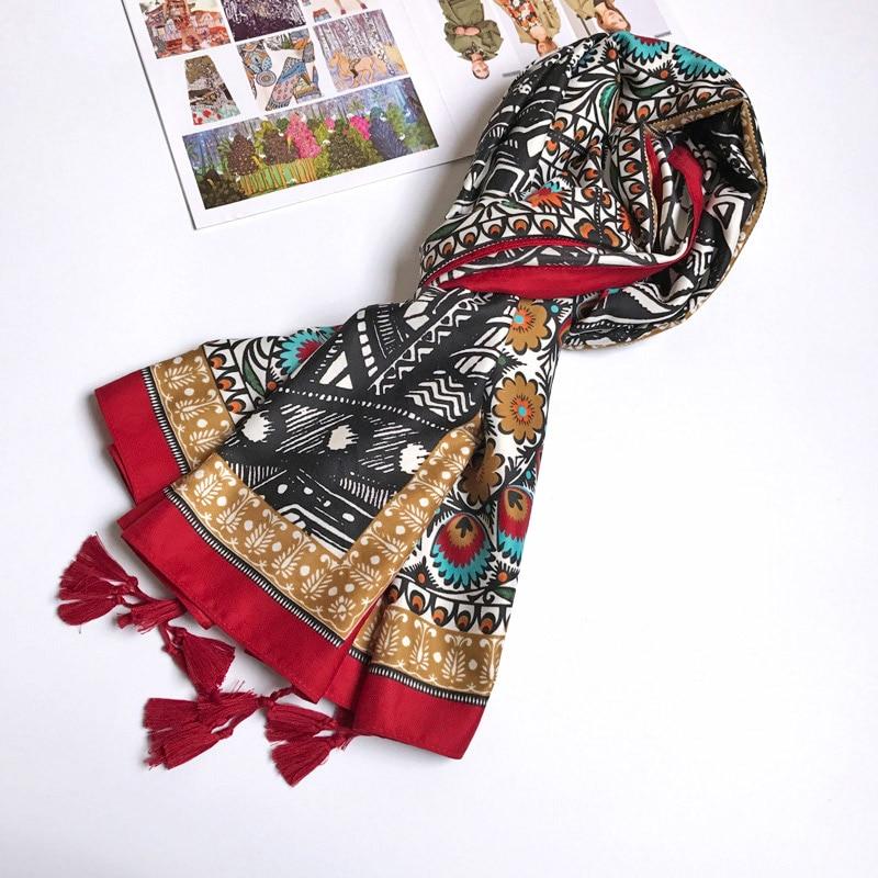 Women Cotton Scarf Twill Totem Pattern Ethnic Long Shawl Female Large Wrap Brand Pashmina NEW [1833]
