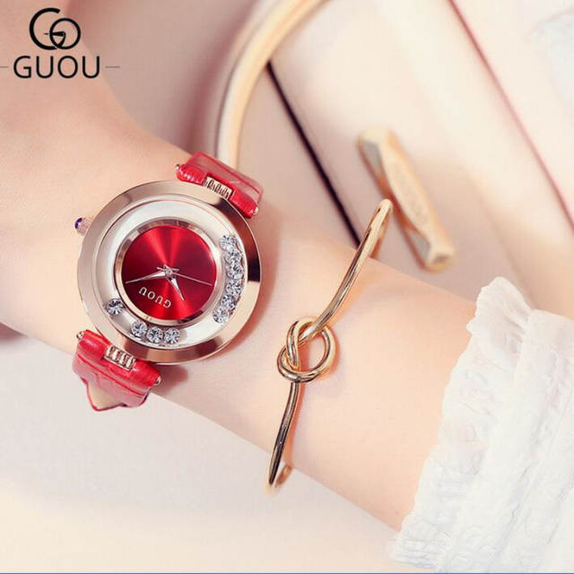 1f3a359c1b0a1 GUOU Watch Luxury Glitter Diamond Rhinestone Watch Women Watches Women s  Fashion Exquisite Leather Clock saat relogio