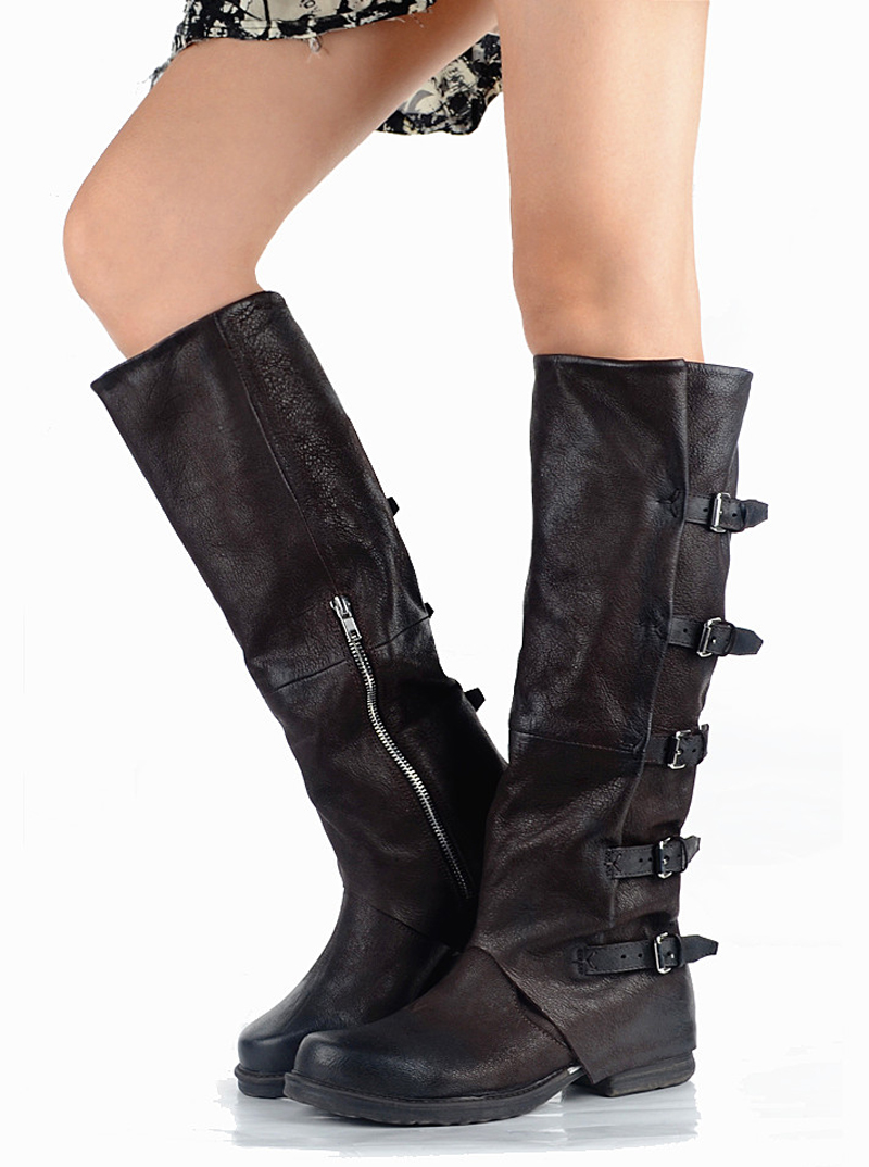 Chevalier Femmes Genou In Perfetto In Leather Ceinture In Fond In Haute Véritable Plush black Ne Boucle Coffee Red Botte Moto Cuir Longue Carré Bout Épais coffee Vieilles grey In wine Bottes Prova dFTXqYwY