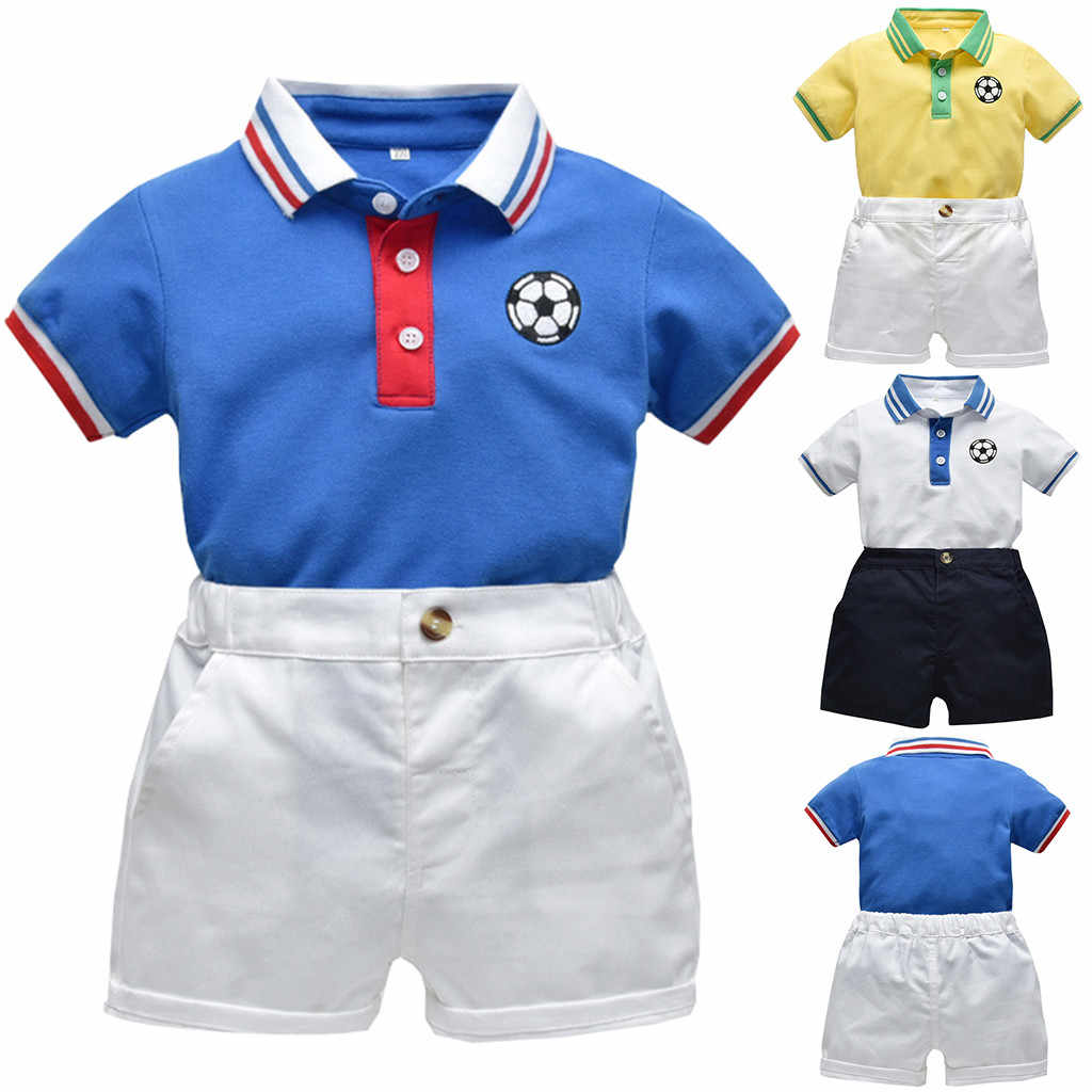 Yürümeye başlayan Bebek Erkek Beyefendi kısa kollu çizgili futbol baskı t-shirt + Katı Şort Kıyafetler 2 adet setleri çocuk çocuk bez