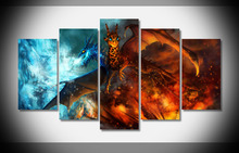 Flying Dragon Games Poster Unframed Canvas 5 Panel Wall Decor For Children Room Canvas Art Print Poster Household Products