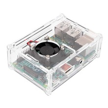EDT-Transparent Clear Case Enclosure Box + Cooling Fan for Raspberry Pi 2 Model / B+