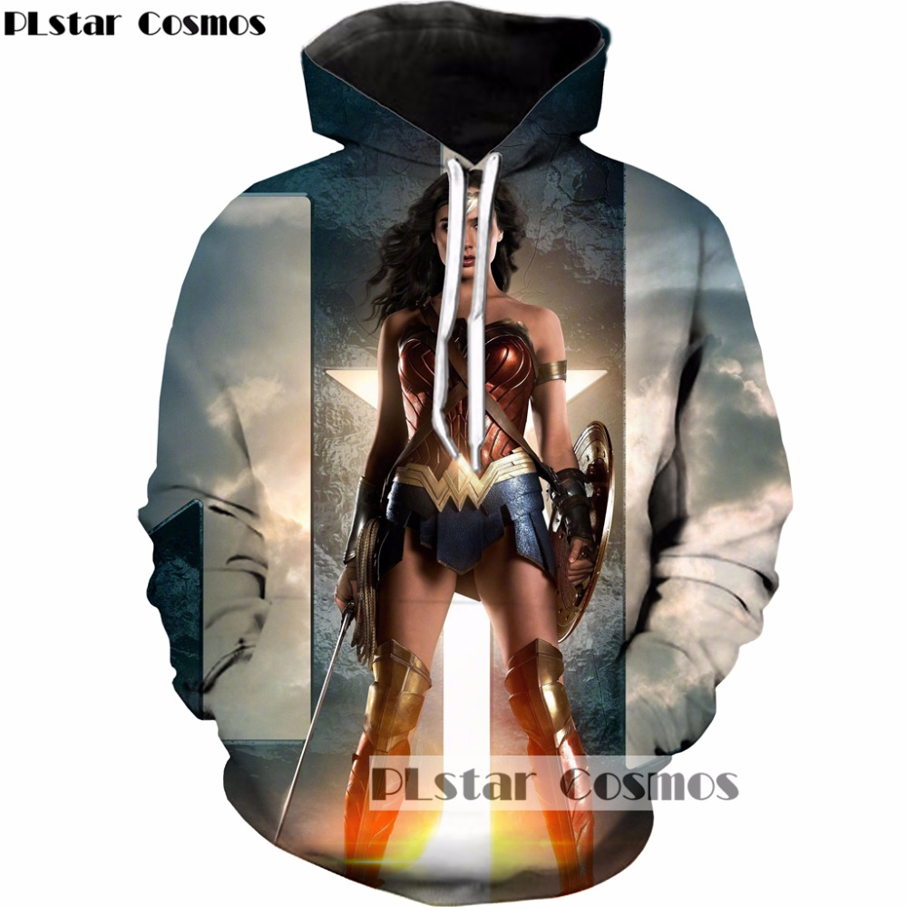 PLstar Cosmos 2017 Autumn New design Fashion brand Hoodies 3d Print Movie Wonder Woman Men Women casual hooded sweatshirt