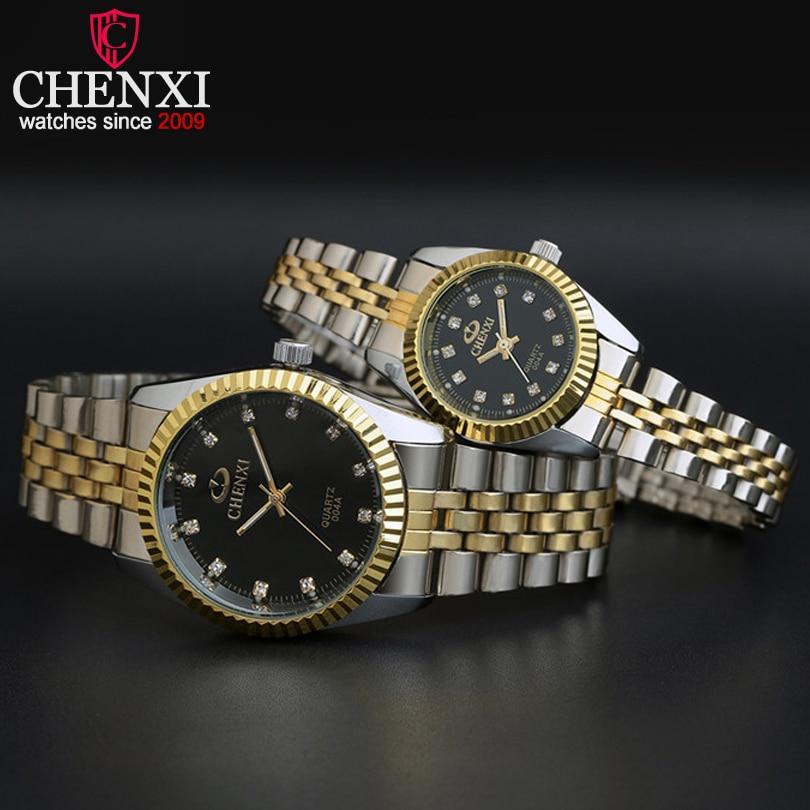 CHENXI marca amantes parejas de cuarzo reloj de los hombres de las mujeres regalo de San Valentín reloj relojes de señoras 30 m impermeable Relojes