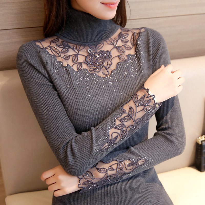 46 Korean Winter Clothes New Slim Knitted Lace Flower Dress Shirt Lapel Sweater F1508