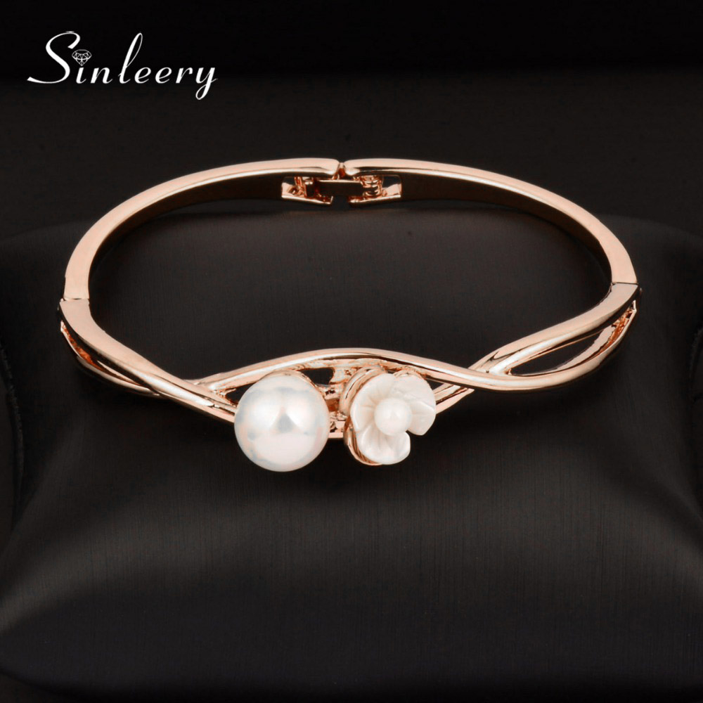 SINLEERY Design Simulated Pearl Flower Bracelet Bangle Women Silver /Rose Gold Color Fashion Jewelry Accessories Sl341 SSD