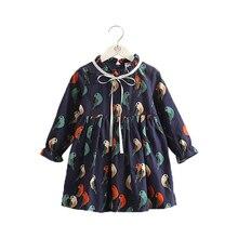 2019 New Girls Dresses Korea Fashion Bow Crew Neck Printing Kids Dresses for Girls