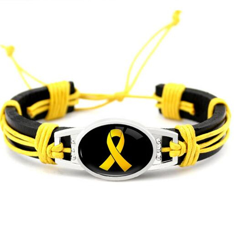 Support Our Troops Awareness Leather Bracelet Yellow Ribbon Genuine Leather Bracelets & Bangles For Men Women Bracelet Jewelry