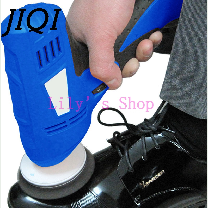 JIQI Household shoe polisher electric mini hand-held portable Leather Polishing machine polisher shoes cleaning brush cleaner EU miniature vibration polishing grinding polisher machine flacker remove metal burrs cleaning metal surface stains 220v 110v