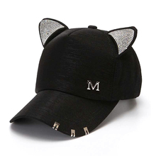 New meow Womens Summer fall black white Pink hat Cat ears Baseball cap with rings and lace Diamond cute girl