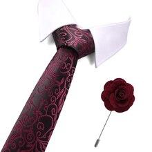 New Man Fashion Floral Neckties Men Ties Corbatas Gravata Jacquard Slim Tie Business Green For And Brooch Set