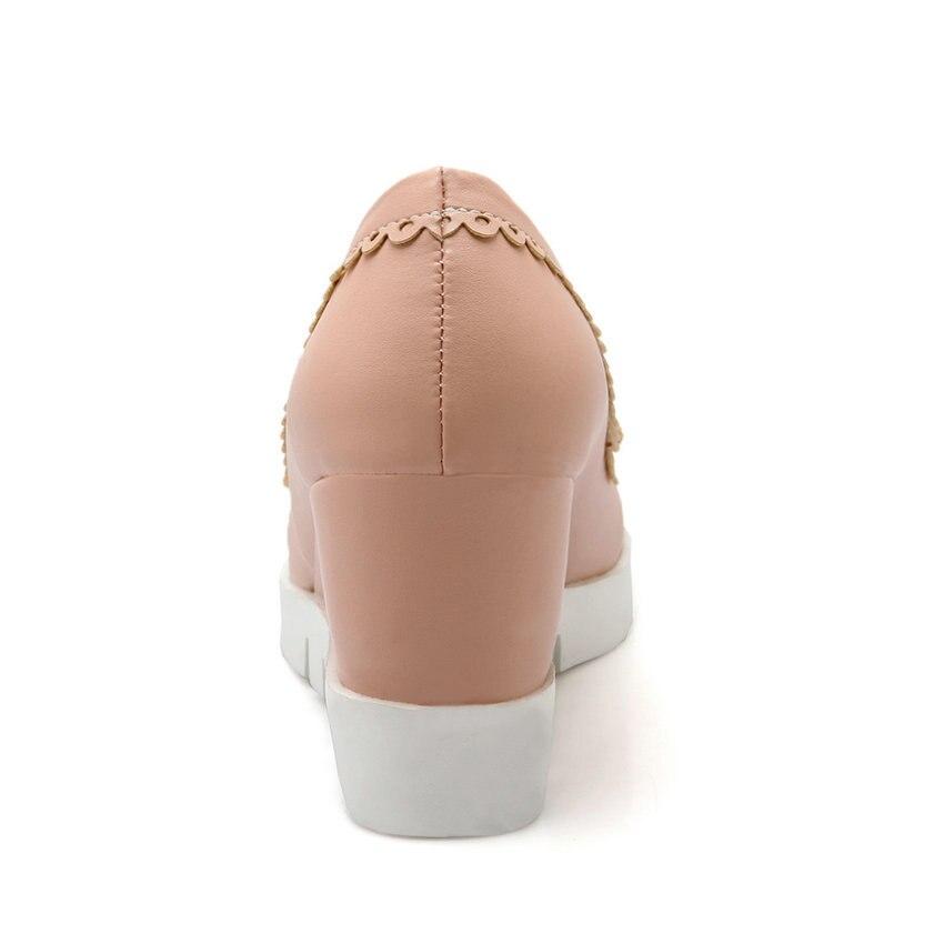 Chaussures rose Femmes 43 noir Doux 2017 De Taille 34 Automne Haute Talon Arc Pompes Pu Platfrom Mariage Cravate Printemps Beige Esveva Coins Femme HB4xOHPq