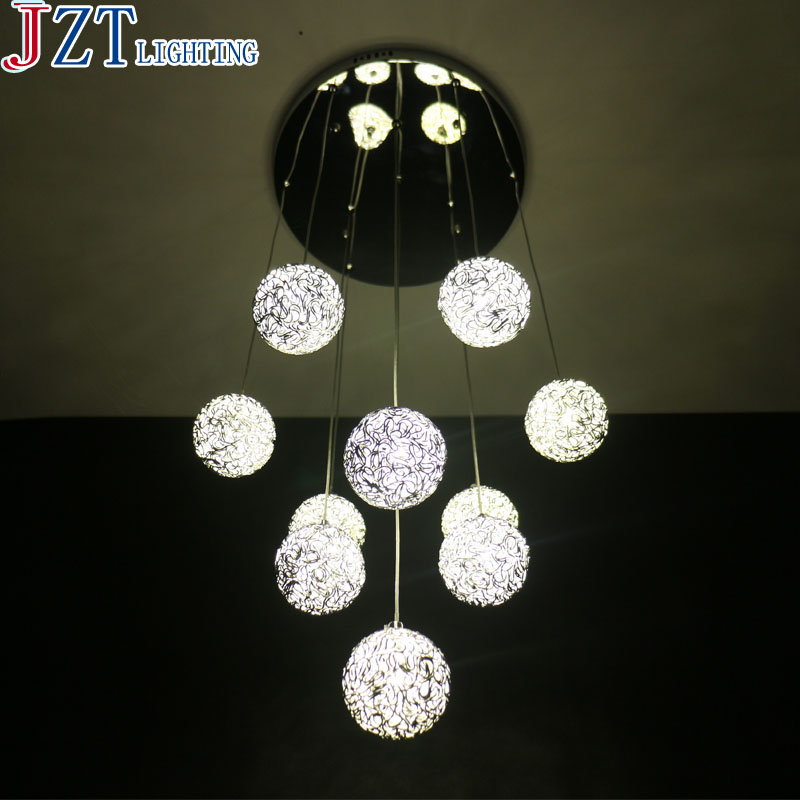 10 Heads Aluminium Wire Ball Led Pendant Light Exquisite Hand Woven Aluminium Wire Lamp Base Modern Concise Dining Room Light