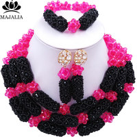 Majalia Luxury Nigeria Wedding African Beads Jewelry Set Hot pink and Black Crystal Necklace Bridal Jewelry Sets 1TY012